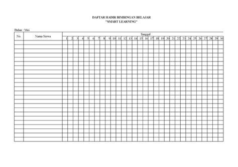 format daftar hadir pengawas contoh daftar hadir untuk bimbingan belajar pdf document