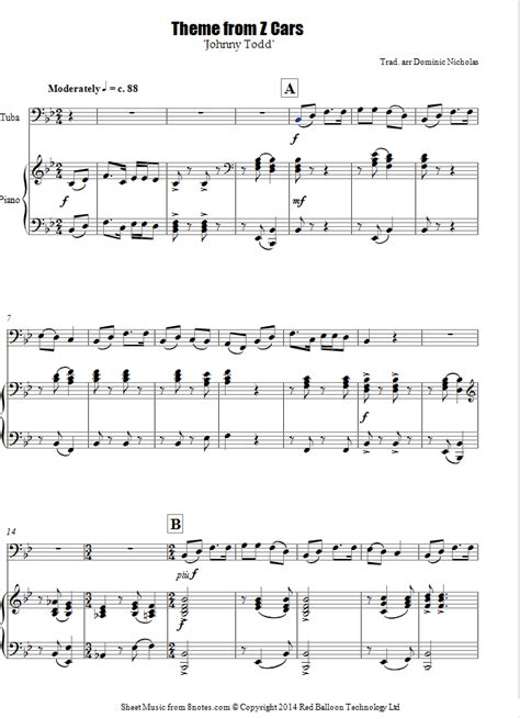 Theme Song Z Cars | theme from z cars johnny todd sheet music for tuba