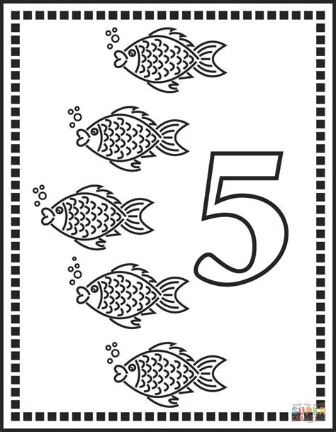 coloring pages of number 5 number 5 or five fishes coloring page free printable