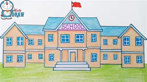 S Drawing Elementary School by How To Draw A School Step By Step Easy