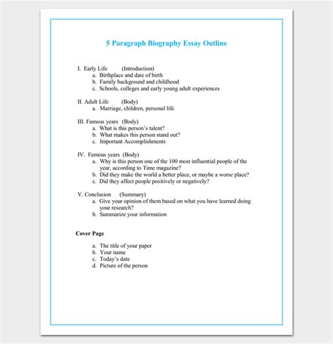 biography paragraph format autobiography outline template 23 exles and formats