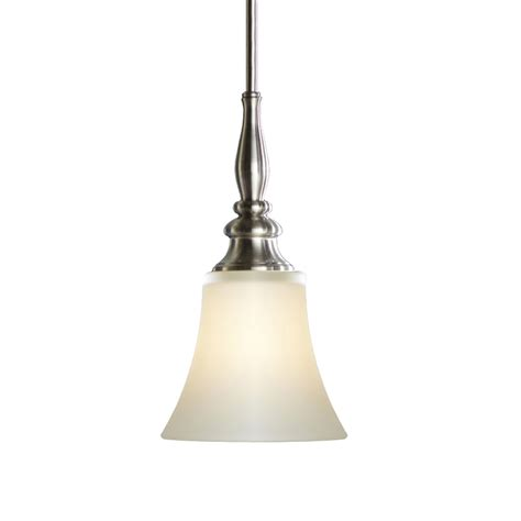 Single Bulb Pendant Light Shop Allen Roth 6 46 In Brushed Nickel Single Etched Glass Bell Pendant At Lowes