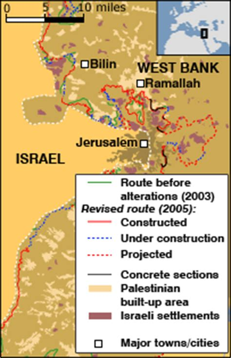 middle east map west bank news middle east west bank barrier change ordered