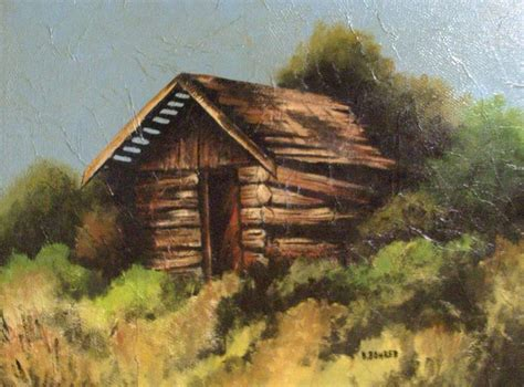 Log Cabin Paintings by Log Cabin Painting By Clarence Butch Martin
