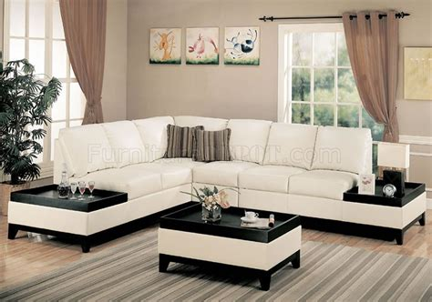cream full bonded leather modern sectional sofa w side tables