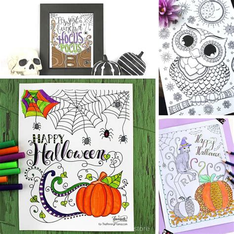 halloween coloring pages for adults easy peasy and fun