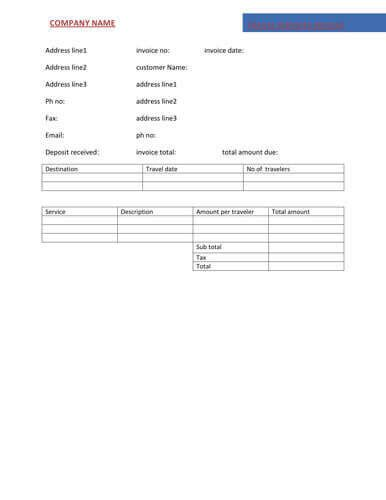 travel invoice template invoice template ideas