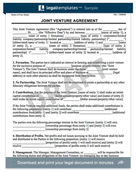 Create A Joint Venture Agreemnent Legal Templates Joint Business Plan Template
