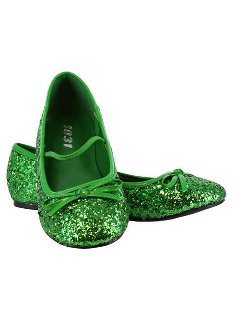 green sparkle shoes green glitter ballet flats