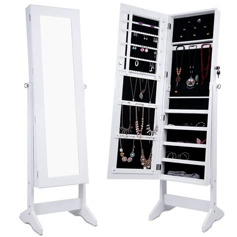 armoire storage langria jewelry mirrored tilt stand armoire cabinet mirror