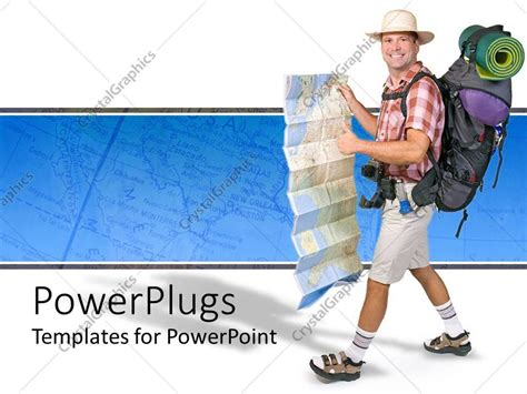 Powerpoint Template Caign Gear With A Hiker Happy Cer Travel World Map White And Blue Microsoft Powerpoint Templates Tourism