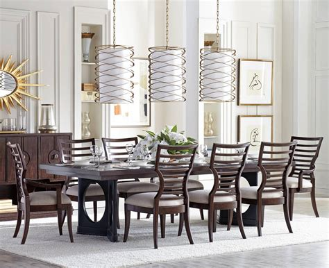 pedestal dining room table sets stanley furniture virage 9 piece double pedestal dining