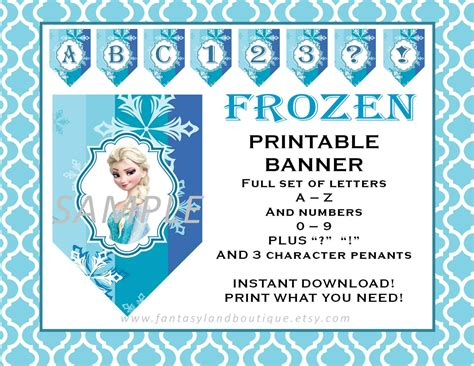 printable frozen banner letters frozen banner a to z and numbers printable party decorations