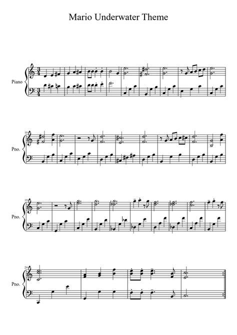 theme music mario mario underwater theme sheet music pinterest