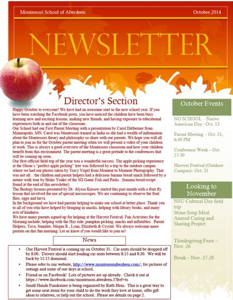 October Newsletter Template 28 Images Kindergarten Times October Newsletter 20 Best Montessori Newsletter Templates