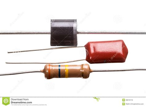 capacitors resistors diode capacitor and resistor stock photo image 30619710