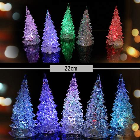 2pcs 22cm acrylic christmas tree led colorful lights home