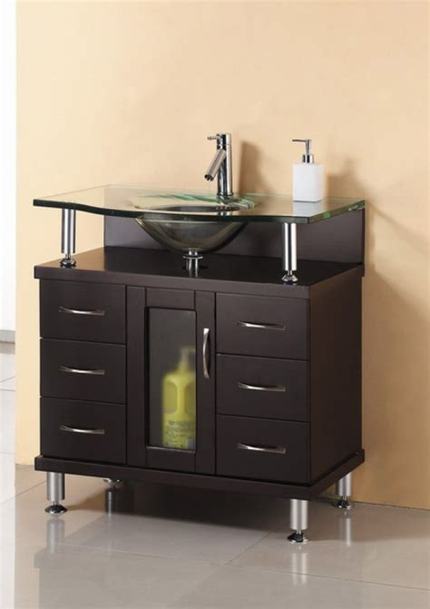 32 Inch Single Sink Bathroom Vanity in Espresso with Glass