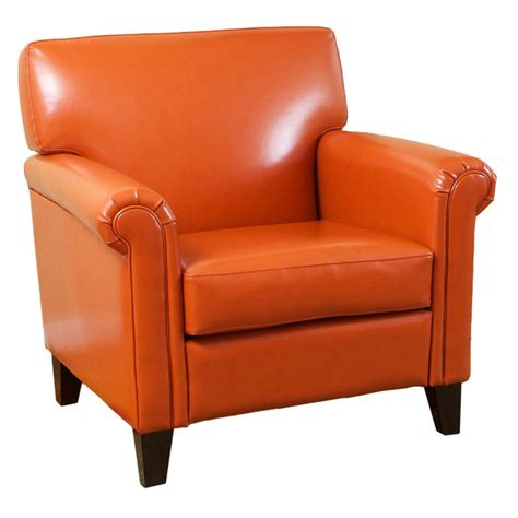 burnt orange chair burnt orange classic leather club chair accent chairs at