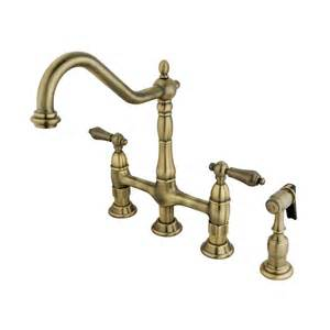 shop elements of design vintage brass 2 handle high arc kitchen faucet at lowes com