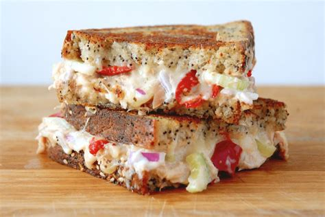 Sandwich Melt Cheese gourmet tuna melt with gruyere cheese cherry peppers