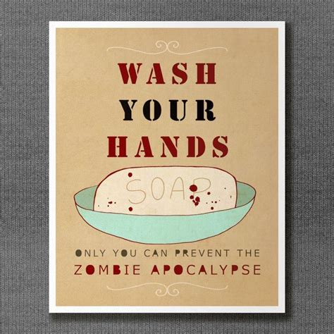 funny bathroom posters wash your hands or zombies typographic print bathroom
