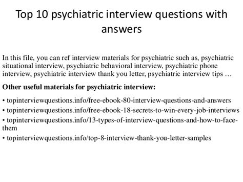 top 10 psychiatric questions with answers