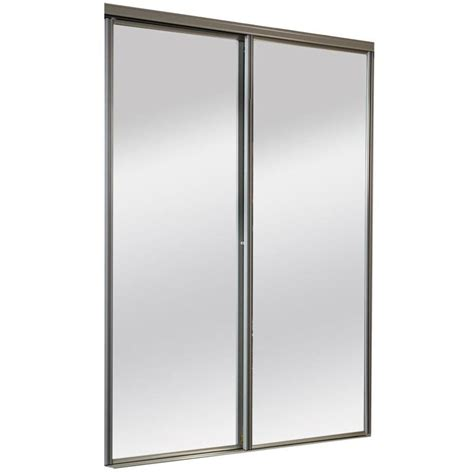 Sliding Mirror Doors For Closet Shop Reliabilt Mirror Panel Sliding Closet Interior Door Common 72 In X 80 In Actual 72 In X