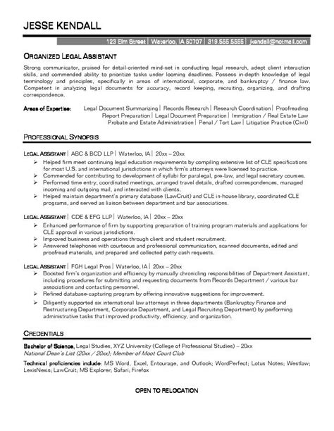 Resume Template Attorney Free Exle Assistant Resume Free Sle