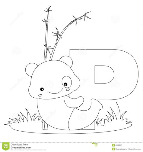 single alphabet coloring pages animal alphabet p coloring page stock vector image 9999327