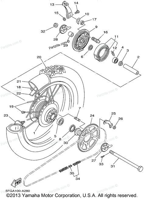 yamaha motorcycle parts diagram yamaha motorcycle parts 2002 ttr225 ttr225p rear wheel