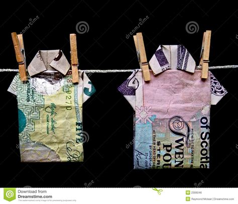 Pound Note Origami - money laundering stock photo image of scotland shirt