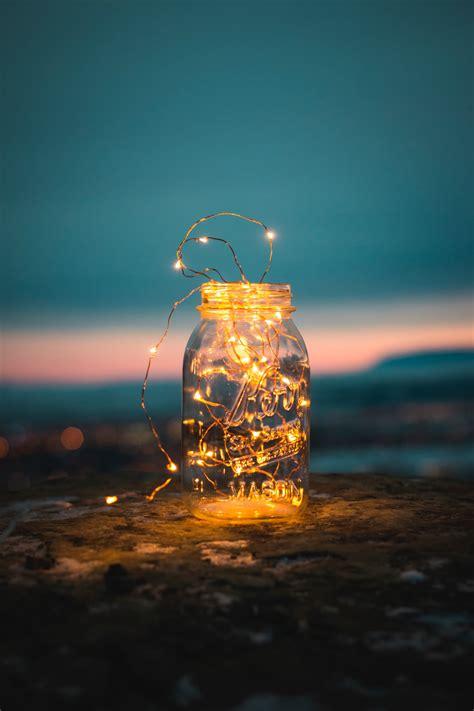 lights fairy lights jar  glass hd photo  steve