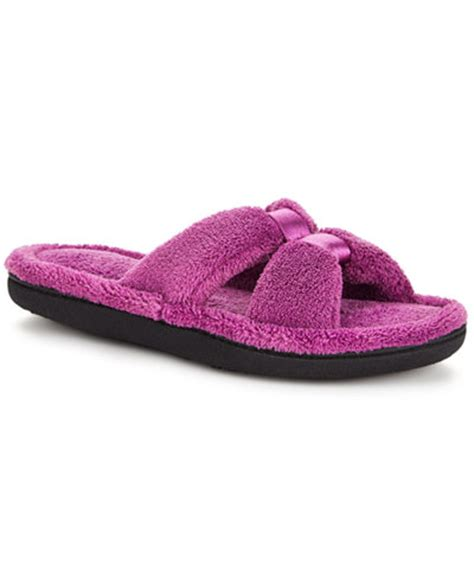 macy slippers isotoner micro terry satin slide slipper handbags