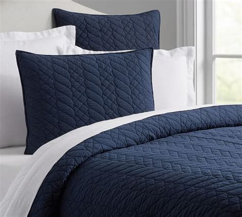Solid Navy Blue Quilt Brie Quilt Sham Pottery Barn