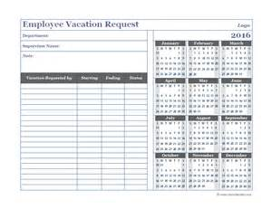 vacation calendar template printable 2016 employee vacation calendar template 2016