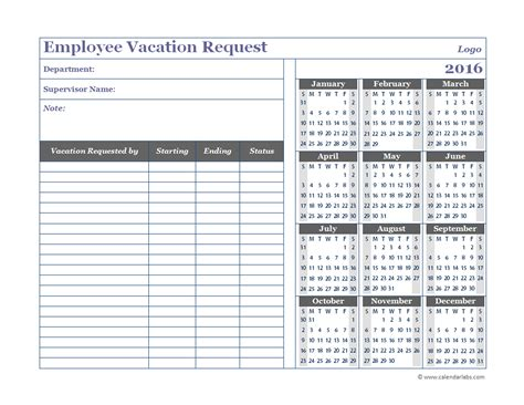 2016 electronic vacation calendar calendar template 2016