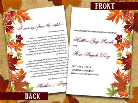fold wedding program template microsoft word autumn