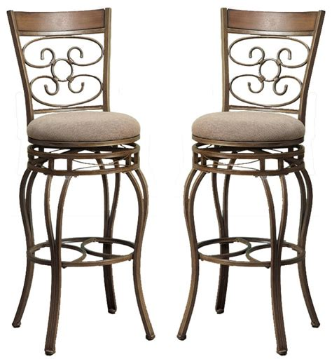 Metal And Fabric Bar Stools by Set Of 2 Swivel Barstools Fabric Cushion Metal Frame Bar