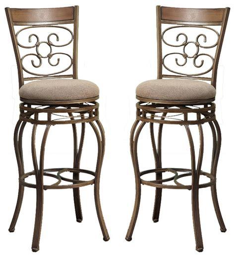 metal chair cushions set of 2 swivel barstools fabric cushion metal frame bar
