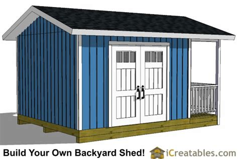 16 x 12 cabin shed covered porch plans plueprint p61612 12x16 shed with porch icreatables