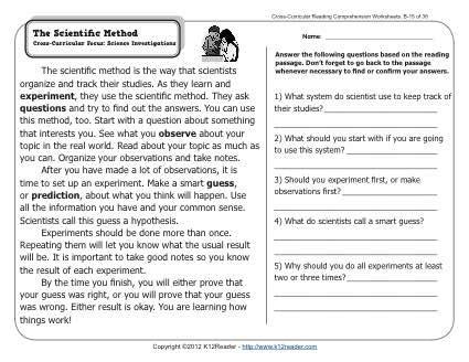 3rd Grade Scientific Method Worksheet by The Scientific Method 2nd Grade Reading Comprehension