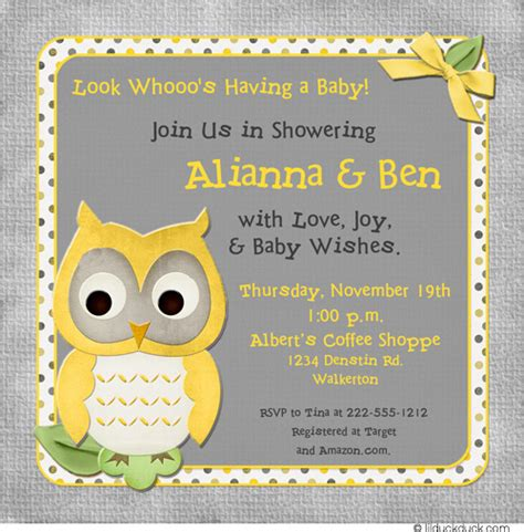 Yellow And Grey Owl Baby Shower by Yellow And Gray Baby Shower Invitations Gangcraft Net