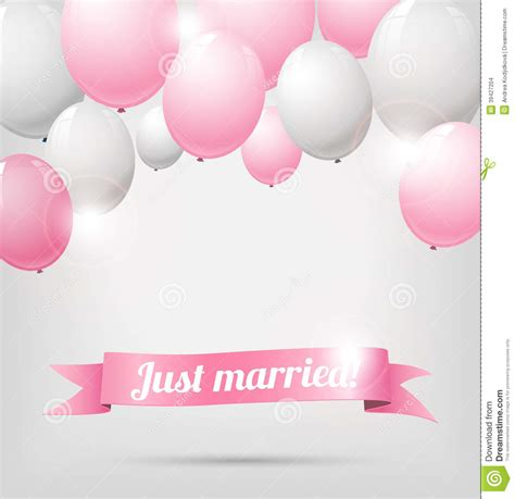 Wedding banner with pink and white balloons stock vector image 39427204