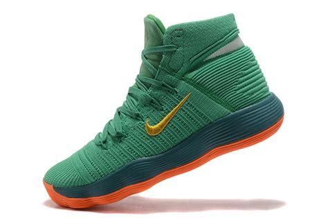 nike flyknit basketball shoes nike react hyperdunk 2017 flyknit green glod orange men s