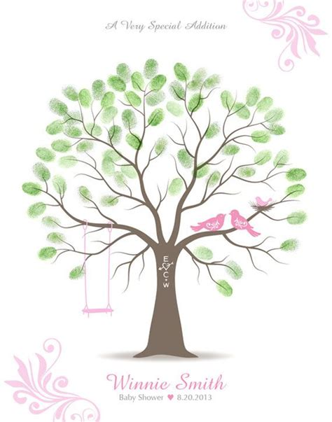printable family tree guest book baby shower thumbprint tree guest book alternative custom