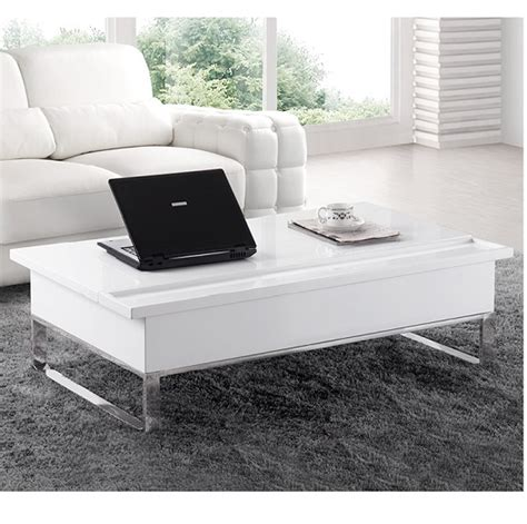 nuro laptop high gloss coffee table with white storage