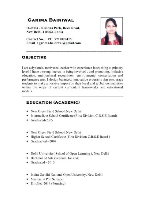 resume format for teaching in india pdf indian resume resume sles resume format resume for for resume format for