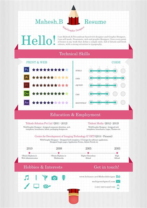 55 Amazing Graphic Design Resume Templates To Win Jobs Infographic Resume Template Free