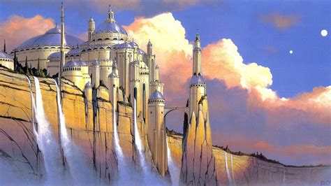 science fiction artwork waterfalls traditional art palace